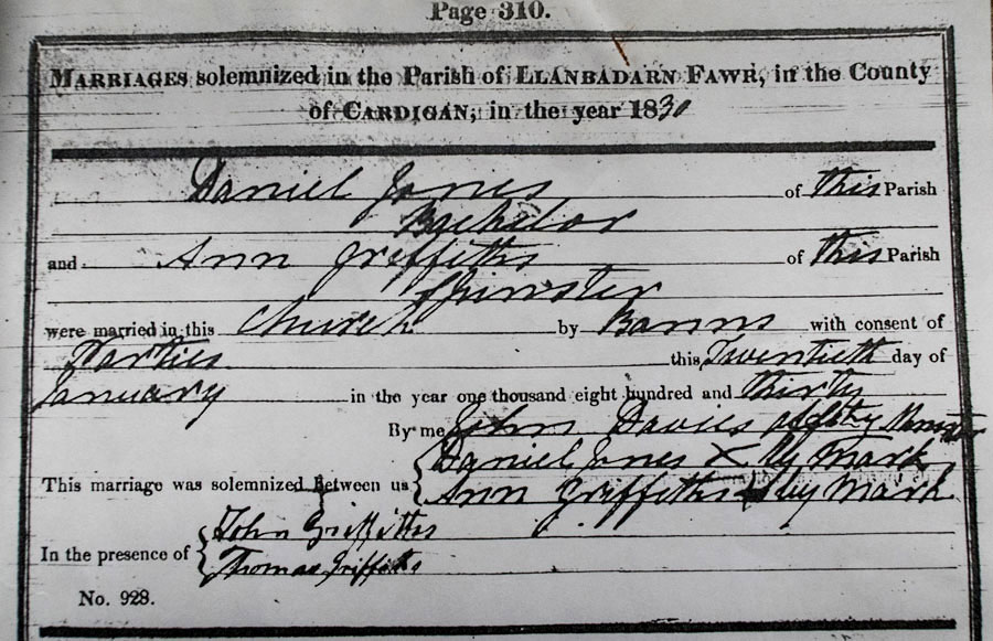Daniel & Ann Jones (Griffiths) Marriage 1830